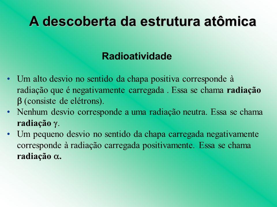 Radioatividade Um alto desvio no sentido da chapa positiva corresponde à radiação que é negativamente carregada. Essa se chama radiação (consiste de e