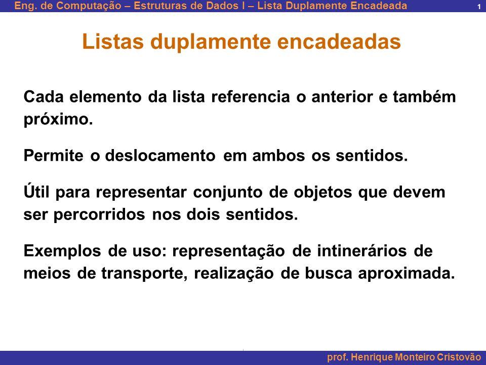 Eng. de Computação – Estruturas de Dados I – Lista Duplamente Encadeada prof. Henrique Monteiro Cristovão 1 Listas duplamente encadeadas Cada elemento