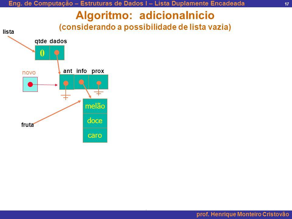 Eng. de Computação – Estruturas de Dados I – Lista Duplamente Encadeada prof. Henrique Monteiro Cristovão 17 0 qtde dados lista Algoritmo: adicionaIni