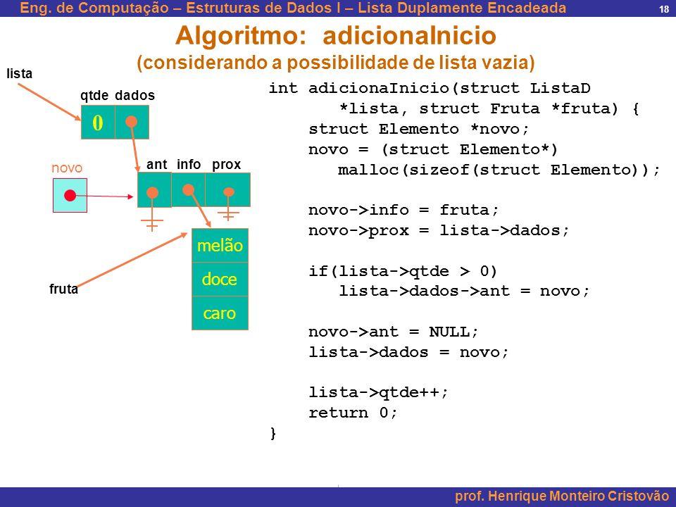 Eng. de Computação – Estruturas de Dados I – Lista Duplamente Encadeada prof. Henrique Monteiro Cristovão 18 0 qtde dados lista Algoritmo: adicionaIni