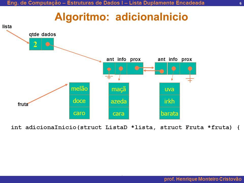 Eng. de Computação – Estruturas de Dados I – Lista Duplamente Encadeada prof. Henrique Monteiro Cristovão 6 2 maçã azeda cara uva irkh barata qtde dad