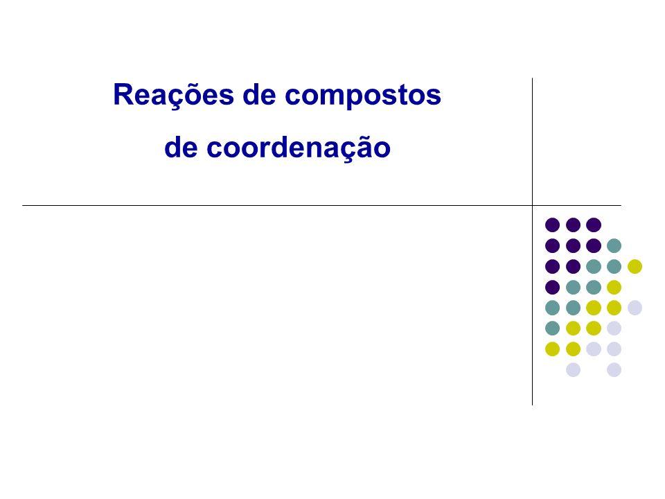 Formação de Complexos Em solução aquosa, os íons metálicos se encontram associados com moléculas de água, formando os aquacomplexos.