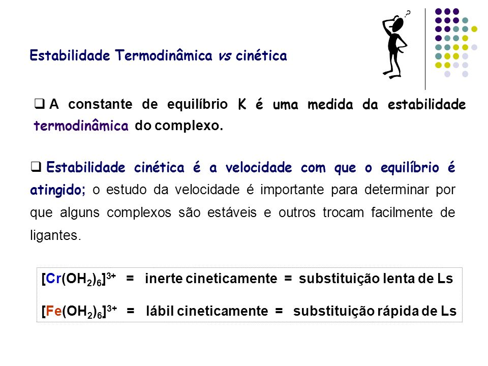 Estabilidade Termodinâmica vs cinética A constante de equilíbrio K é uma medida da estabilidade termodinâmica do complexo. Estabilidade cinética é a v