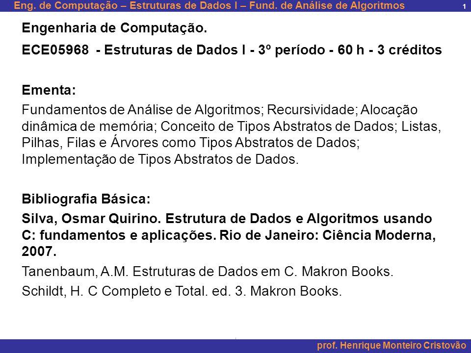 Eng.de Computação – Estruturas de Dados I – Fund.