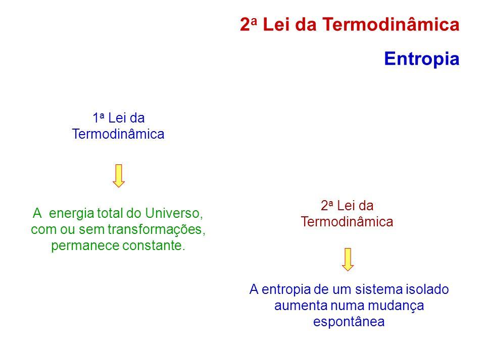 1 a Lei da Termodinâmica A energia total do Universo, com ou sem transformações, permanece constante. 2 a Lei da Termodinâmica A entropia de um sistem