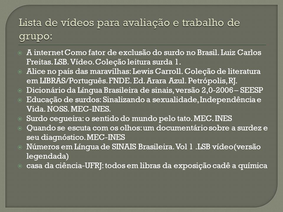 A internet Como fator de exclusão do surdo no Brasil. Luiz Carlos Freitas. LSB. Vídeo. Coleção leitura surda 1. Alice no país das maravilhas: Lewis Ca