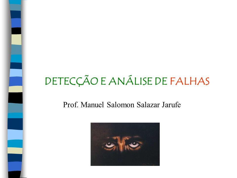 DETECÇÃO E ANÁLISE DE FALHAS Prof. Manuel Salomon Salazar Jarufe