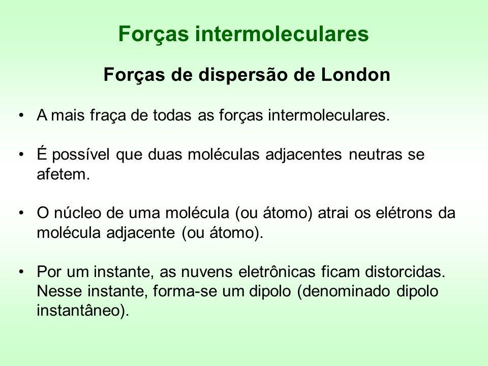 Forças de dispersão de London A mais fraça de todas as forças intermoleculares. É possível que duas moléculas adjacentes neutras se afetem. O núcleo d