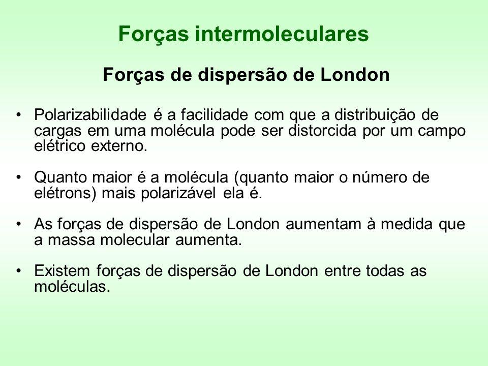 Forças de dispersão de London Polarizabilidade é a facilidade com que a distribuição de cargas em uma molécula pode ser distorcida por um campo elétri