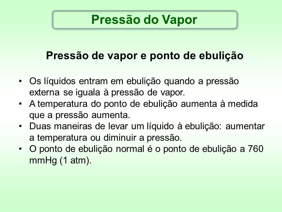 Pressão de vapor e ponto de ebulição Os líquidos entram em ebulição quando a pressão externa se iguala à pressão de vapor. A temperatura do ponto de e