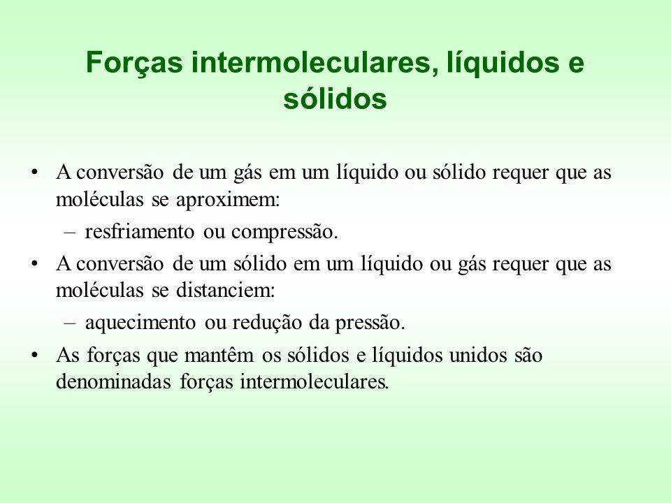 A conversão de um gás em um líquido ou sólido requer que as moléculas se aproximem: –resfriamento ou compressão. A conversão de um sólido em um líquid