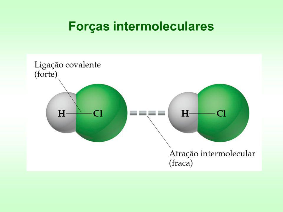 Forças íon-dipolo A interação entre um íon e um dipolo (por exemplo, água).