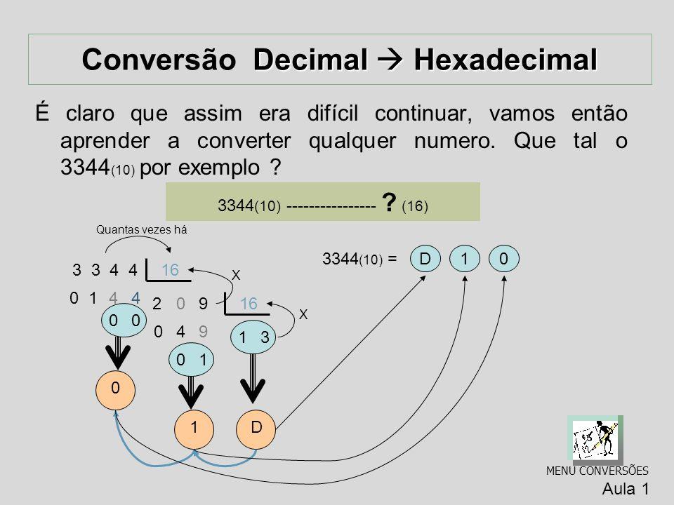 Decimal Hexadecimal Conversão Decimal Hexadecimal Como existem dezesseis números, temos a seguinte correspondência: Decimal (10) Hexadecimal (16) 0 0 1 1 2 2 3 3 4 4 5 5 6 6 7 7 8 8 9 9 1 0 A 1 1 B 1 2 C 1 3 D 1 4 E 1 5 F 1 6 1 0 1 7 1 1 Decimal (10) Hexadecimal (16) Aula 1