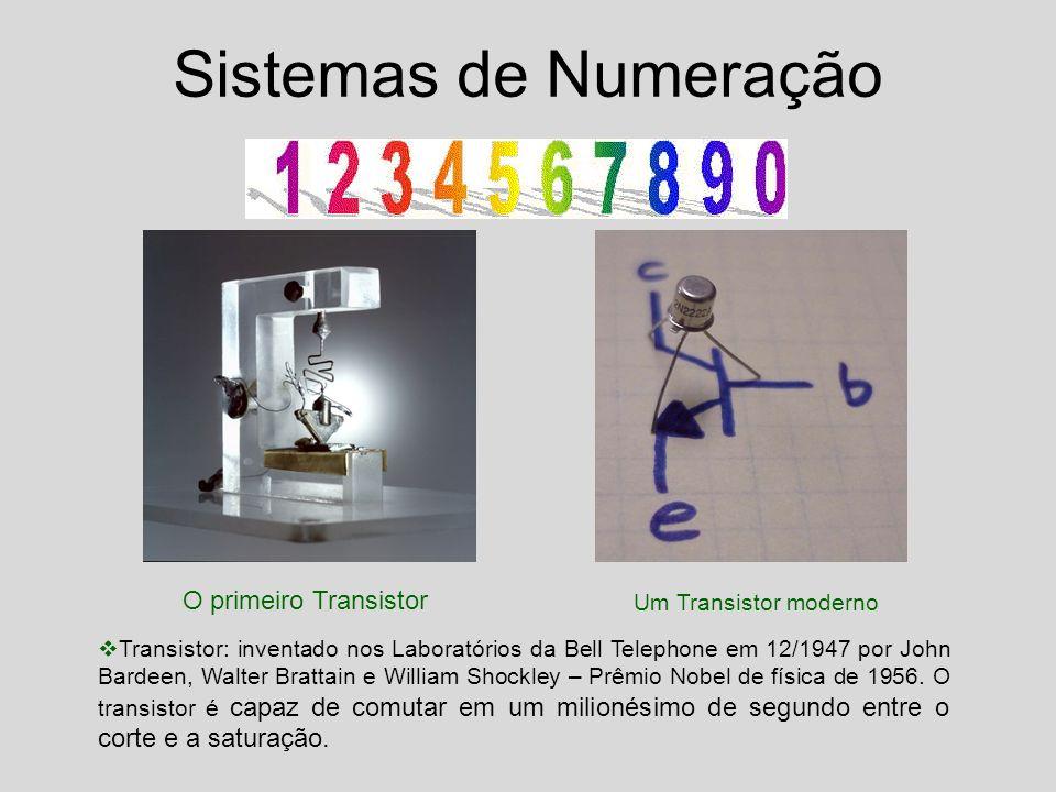 O primeiro Transistor Um Transistor moderno Sistemas de Numeração Transistor: inventado nos Laboratórios da Bell Telephone em 12/1947 por John Bardeen, Walter Brattain e William Shockley – Prêmio Nobel de física de 1956.