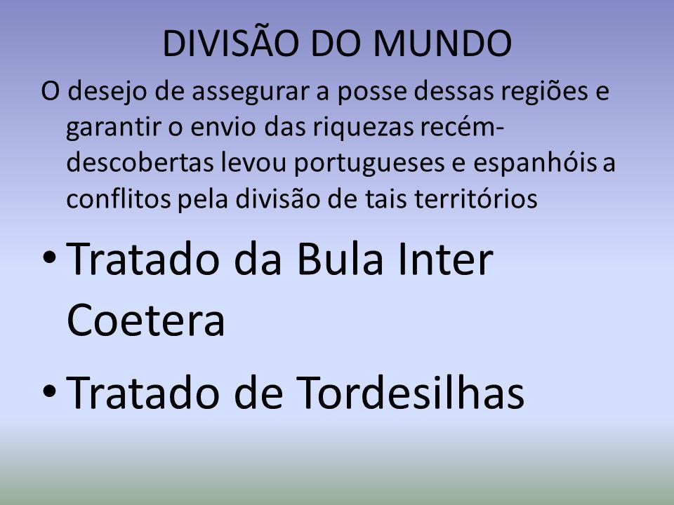 DIVISÃO DO MUNDO O desejo de assegurar a posse dessas regiões e garantir o envio das riquezas recém- descobertas levou portugueses e espanhóis a confl