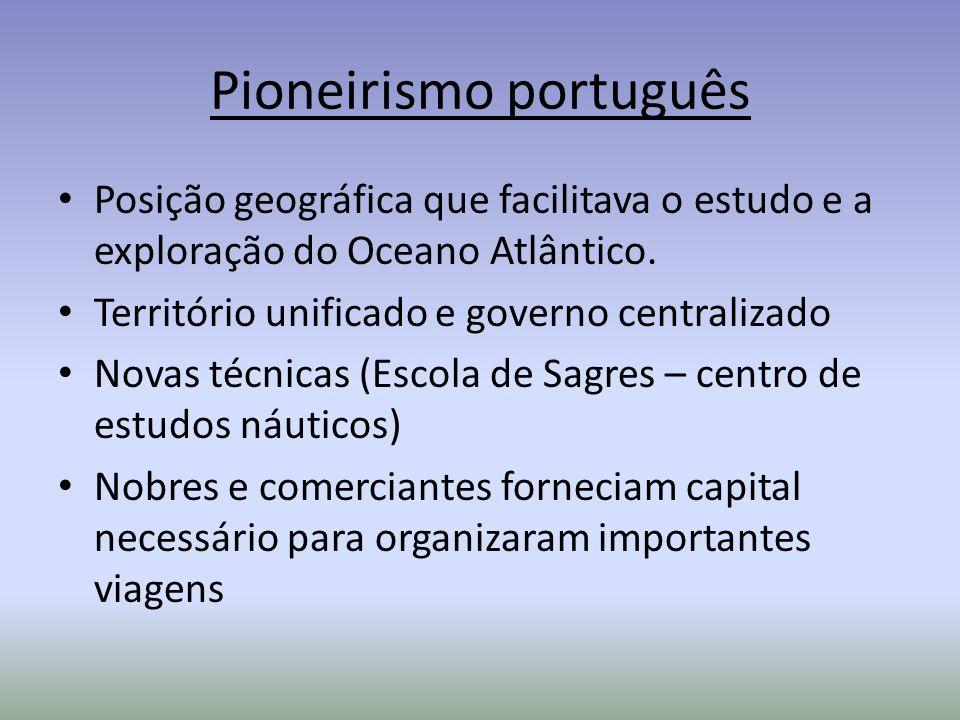 Pioneirismo português Posição geográfica que facilitava o estudo e a exploração do Oceano Atlântico. Território unificado e governo centralizado Novas
