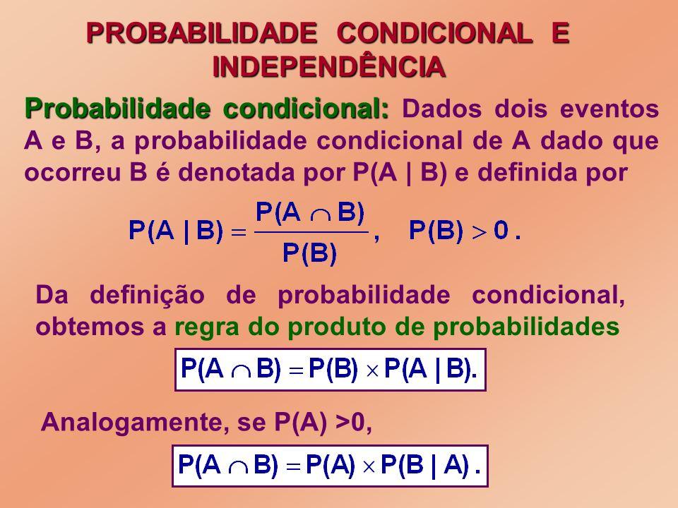 Probabilidade condicional: Probabilidade condicional: Dados dois eventos A e B, a probabilidade condicional de A dado que ocorreu B é denotada por P(A