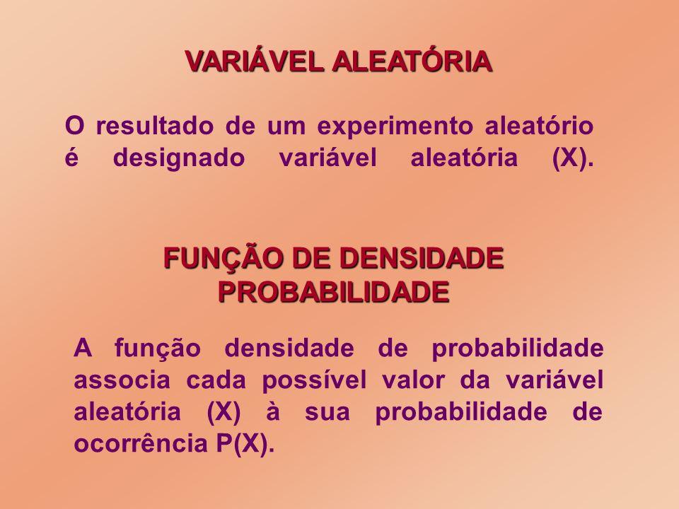 O resultado de um experimento aleatório é designado variável aleatória (X). VARIÁVEL ALEATÓRIA FUNÇÃO DE DENSIDADE PROBABILIDADE A função densidade de