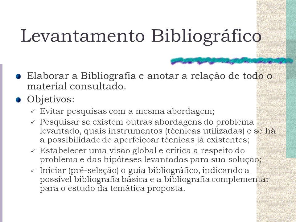 Levantamento Bibliográfico Elaborar a Bibliografia e anotar a relação de todo o material consultado. Objetivos: Evitar pesquisas com a mesma abordagem