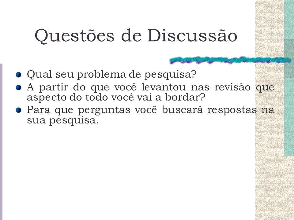 Questões de Discussão Qual seu problema de pesquisa? A partir do que você levantou nas revisão que aspecto do todo você vai a bordar? Para que pergunt