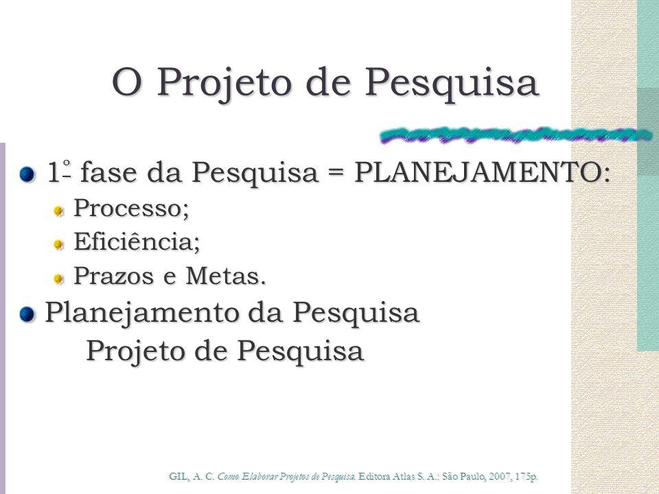 O Projeto de Pesquisa 1 º fase da Pesquisa = PLANEJAMENTO: Processo;Eficiência; Prazos e Metas. Planejamento da Pesquisa Projeto de Pesquisa GIL, A. C