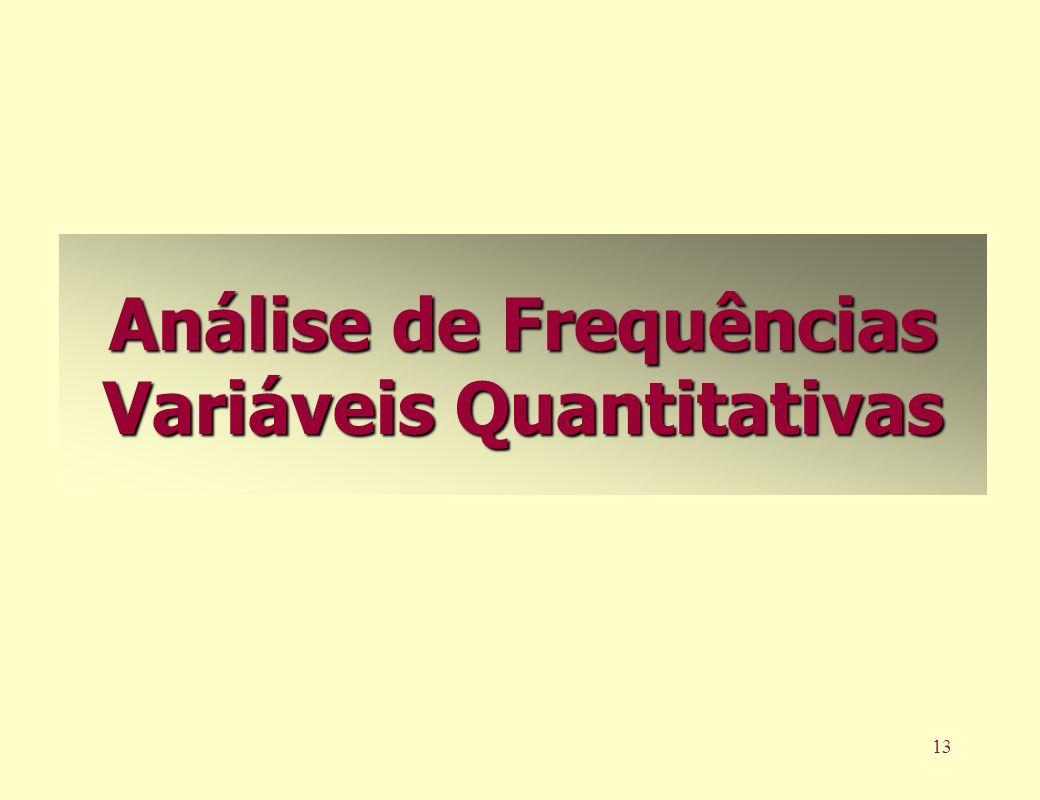 13 Análise de Frequências Variáveis Quantitativas
