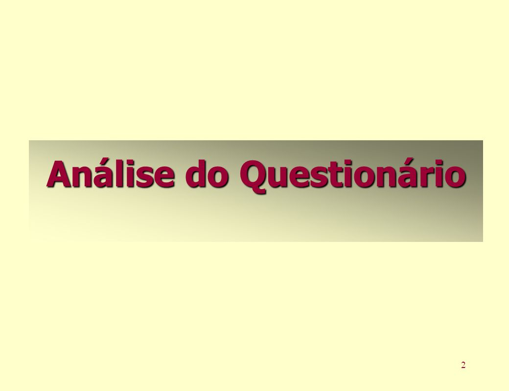 2 Análise do Questionário