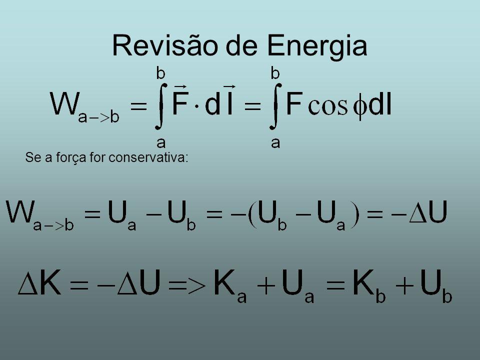 Revisão de Energia Se a força for conservativa: