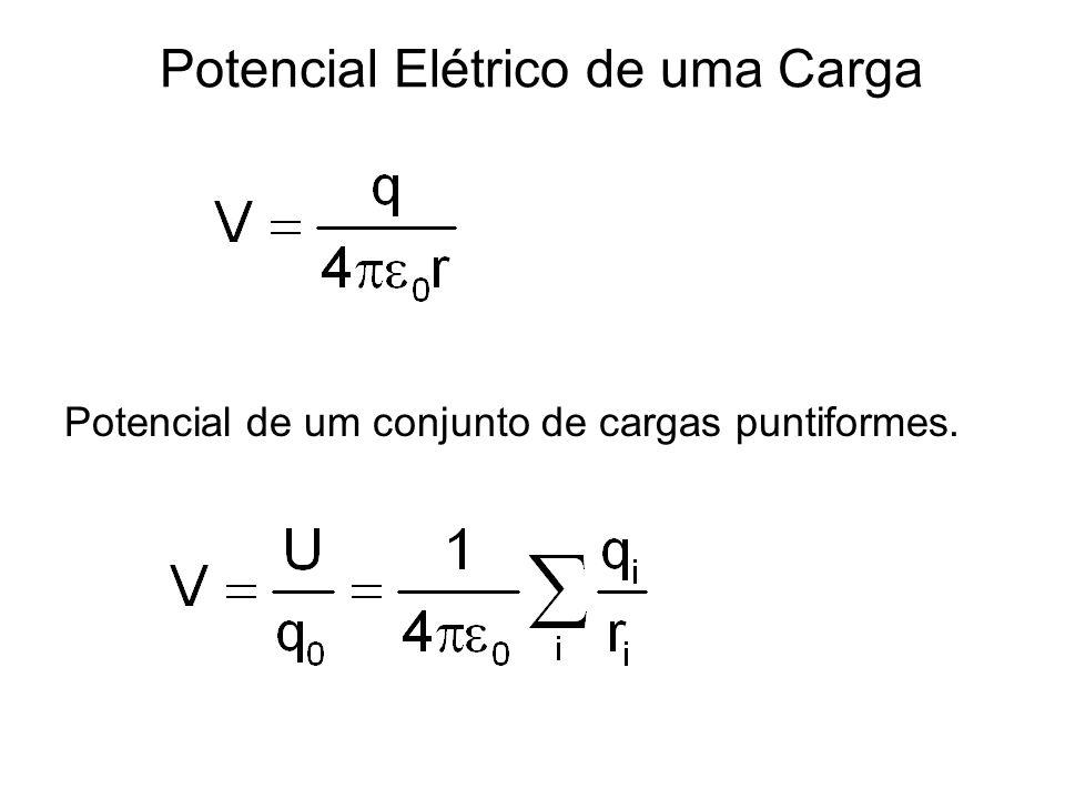 Potencial Elétrico Potencial elétrico = energia potencial por unidade de carga. Definido em um ponto como energia potencial U por unidade de carga ass