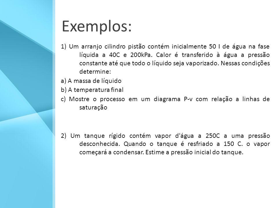 Exemplos: 1) Um arranjo cilindro pistão contém inicialmente 50 I de água na fase líquida a 40C e 200kPa.