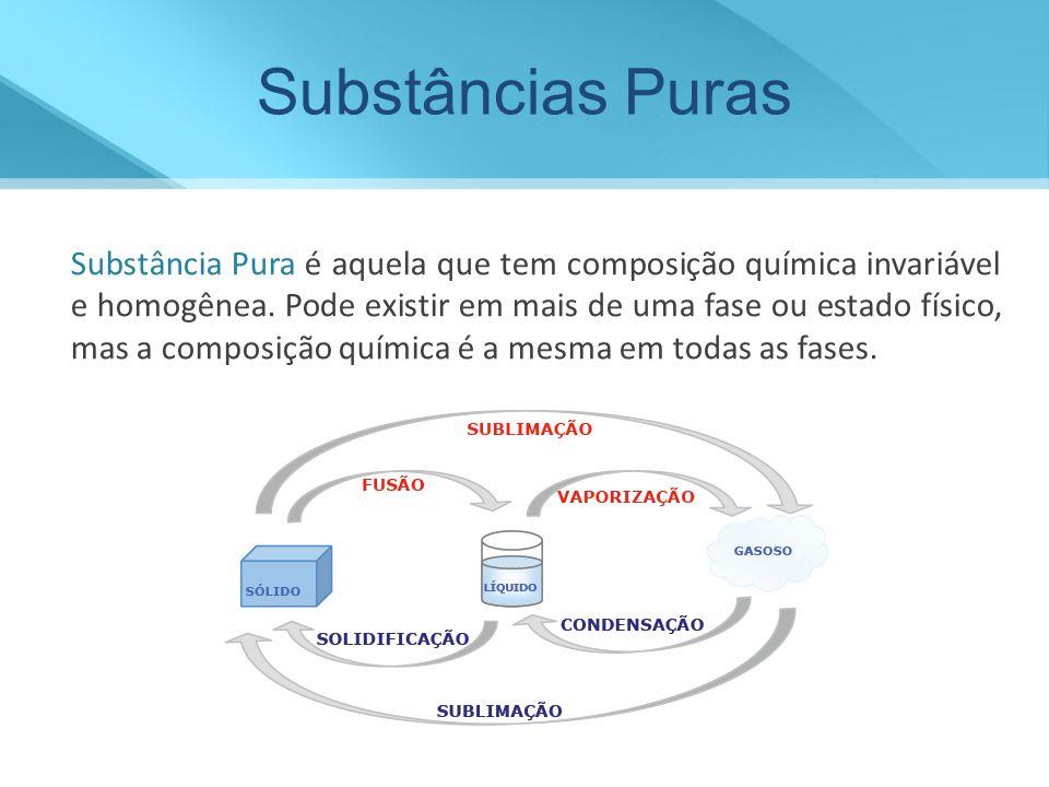 Substâncias Puras Substância Pura é aquela que tem composição química invariável e homogênea. Pode existir em mais de uma fase ou estado físico, mas a