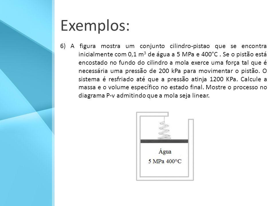 Exemplos: 6) A figura mostra um conjunto cilindro-pistao que se encontra inicialmente com 0,1 m 3 de água a 5 MPa e 400°C.