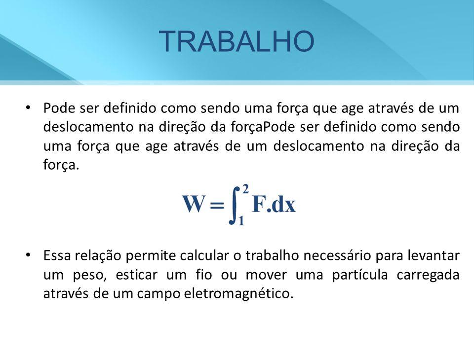 TRABALHO Pode ser definido como sendo uma força que age através de um deslocamento na direção da forçaPode ser definido como sendo uma força que age através de um deslocamento na direção da força.