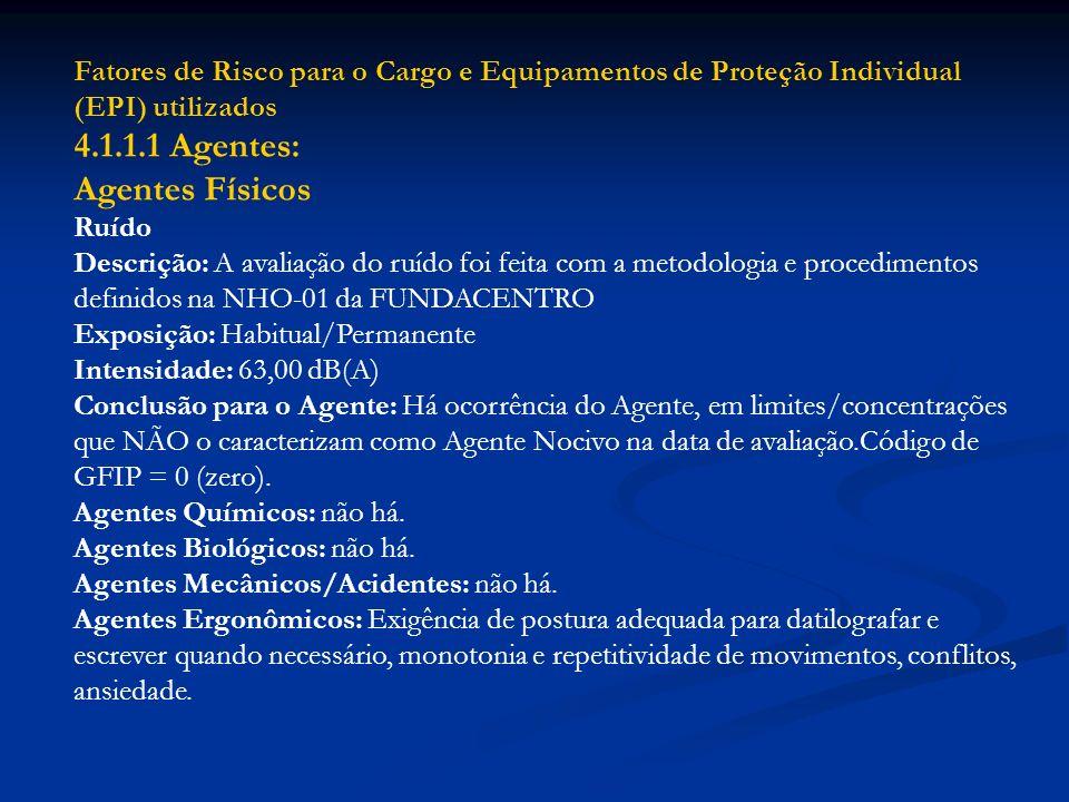 Fatores de Risco para o Cargo e Equipamentos de Proteção Individual (EPI) utilizados 4.1.1.1 Agentes: Agentes Físicos Ruído Descrição: A avaliação do