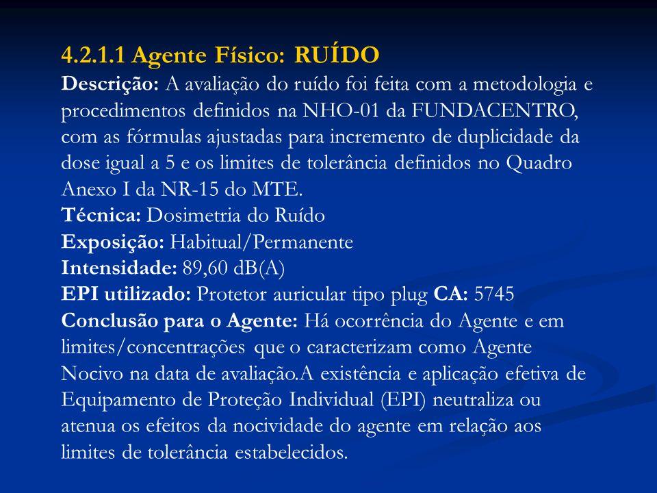 4.2.1.1 Agente Físico: RUÍDO Descrição: A avaliação do ruído foi feita com a metodologia e procedimentos definidos na NHO-01 da FUNDACENTRO, com as fó