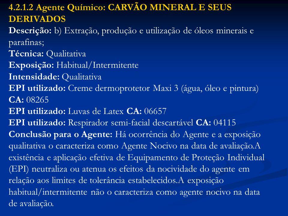4.2.1.2 Agente Químico: CARVÃO MINERAL E SEUS DERIVADOS Descrição: b) Extração, produção e utilização de óleos minerais e parafinas; Técnica: Qualitat
