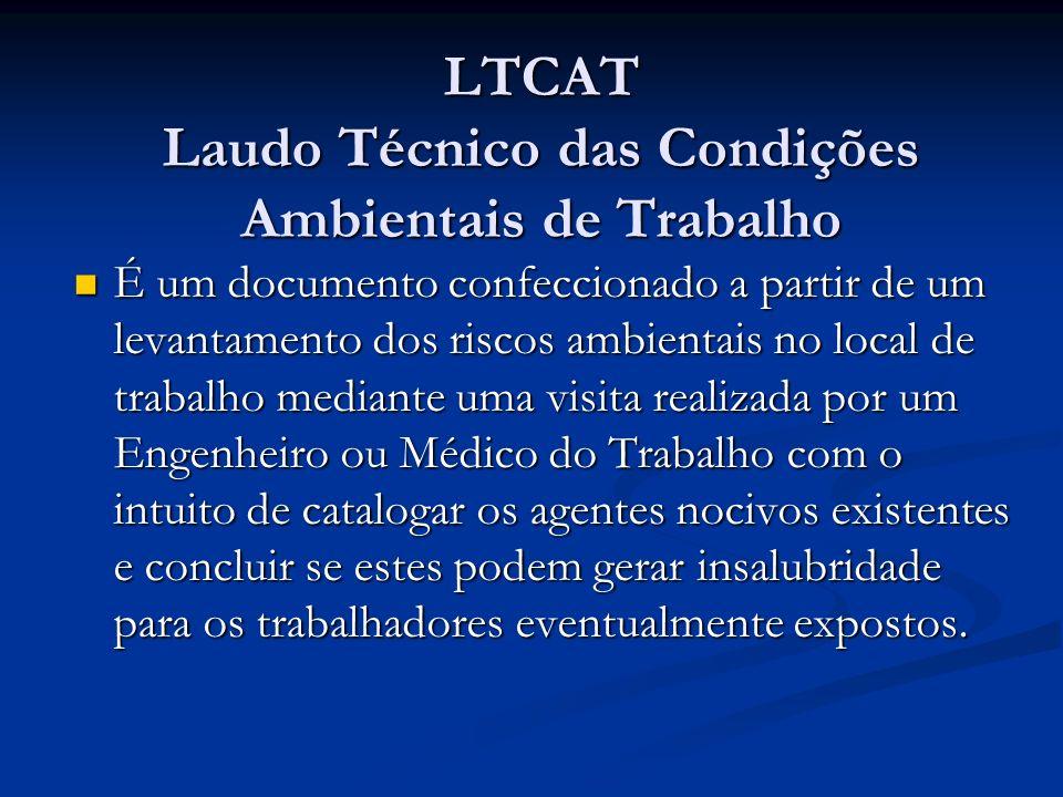 LTCAT Laudo Técnico das Condições Ambientais de Trabalho É um documento confeccionado a partir de um levantamento dos riscos ambientais no local de tr