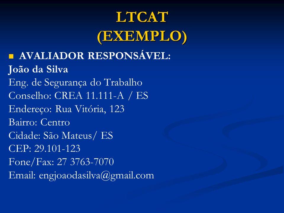 LTCAT (EXEMPLO) AVALIADOR RESPONSÁVEL: João da Silva Eng. de Segurança do Trabalho Conselho: CREA 11.111-A / ES Endereço: Rua Vitória, 123 Bairro: Cen