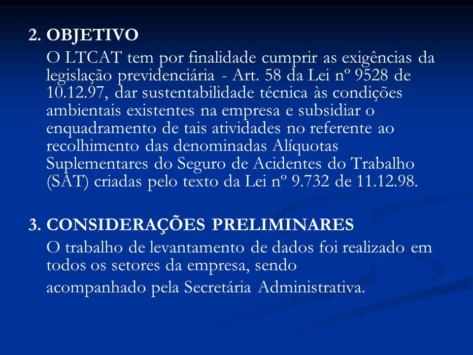2. OBJETIVO O LTCAT tem por finalidade cumprir as exigências da legislação previdenciária - Art. 58 da Lei nº 9528 de 10.12.97, dar sustentabilidade t