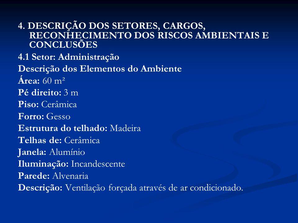 4. DESCRIÇÃO DOS SETORES, CARGOS, RECONHECIMENTO DOS RISCOS AMBIENTAIS E CONCLUSÕES 4.1 Setor: Administração Descrição dos Elementos do Ambiente Área: