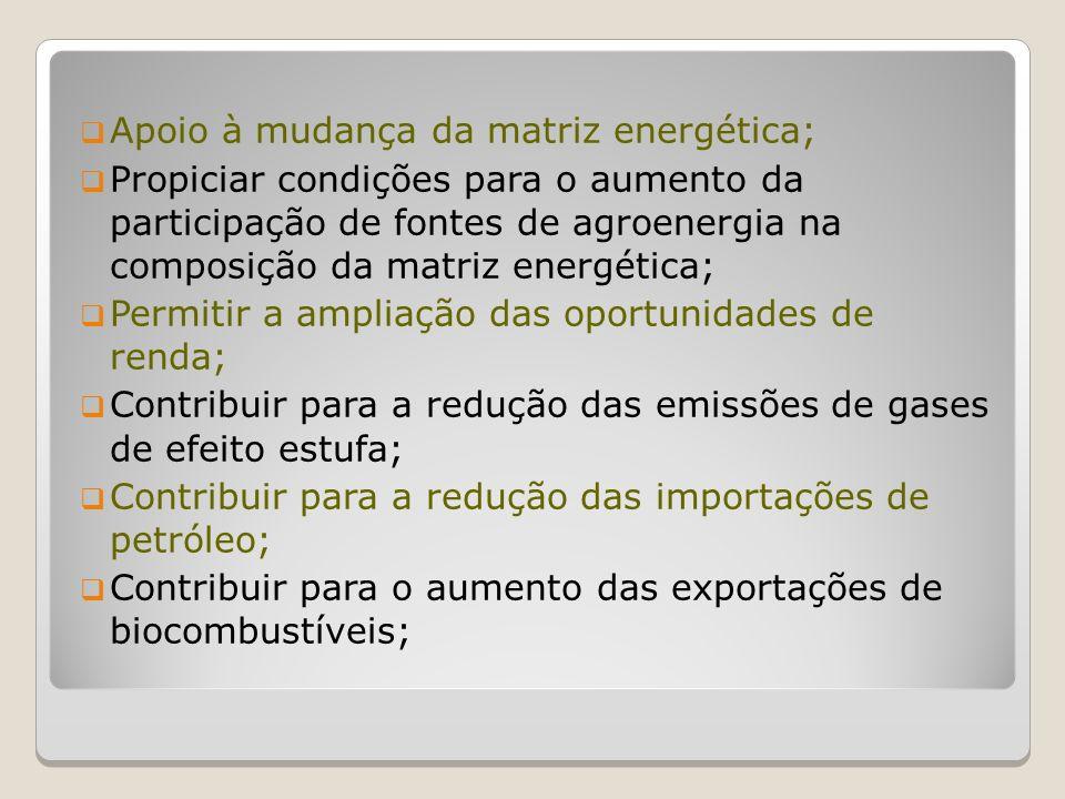 Plano Nacional de Agroenergia Objetivo: a.Sustentabilidade da matriz energética; b.