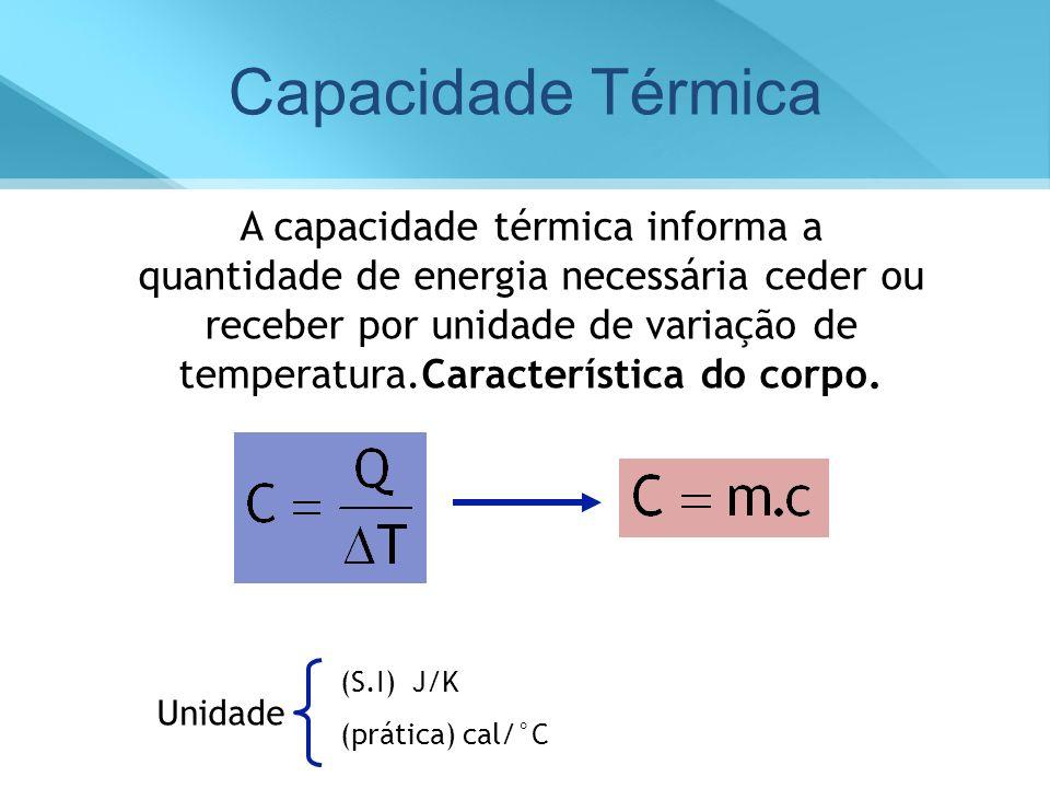 Capacidade Térmica A capacidade térmica informa a quantidade de energia necessária ceder ou receber por unidade de variação de temperatura.Característ