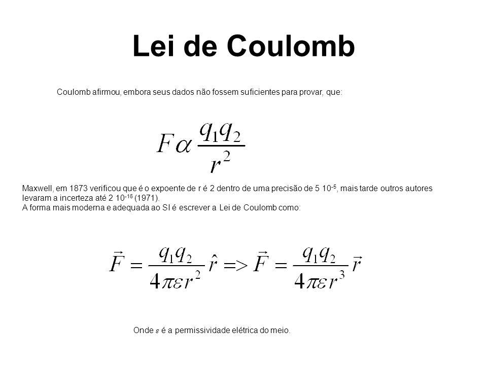 Coulomb afirmou, embora seus dados não fossem suficientes para provar, que: Maxwell, em 1873 verificou que é o expoente de r é 2 dentro de uma precisão de 5 10 -5, mais tarde outros autores levaram a incerteza até 2 10 -16 (1971).