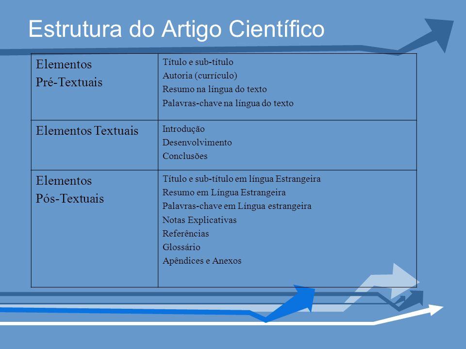 Estrutura do Artigo Científico Elementos Pré-Textuais Título e sub-título Autoria (currículo) Resumo na língua do texto Palavras-chave na língua do te