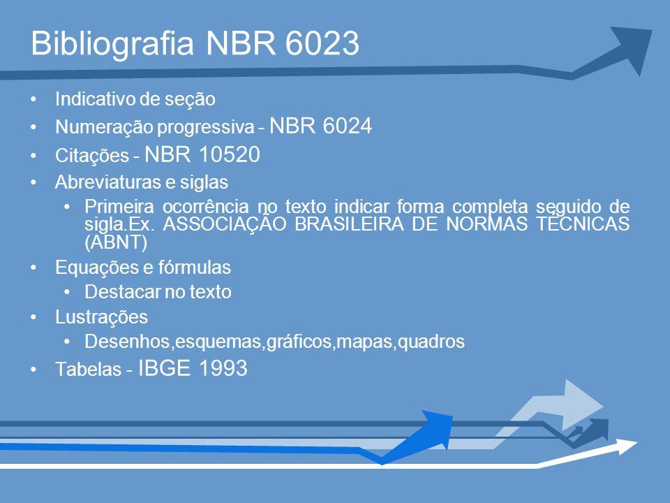 Bibliografia NBR 6023 Indicativo de seção Numeração progressiva - NBR 6024 Citações - NBR 10520 Abreviaturas e siglas Primeira ocorrência no texto ind