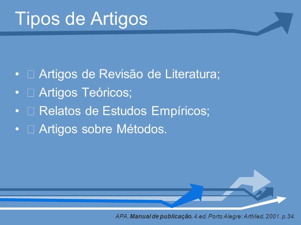 Tipos de Artigos Artigos de Revisão de Literatura; Artigos Teóricos; Relatos de Estudos Empíricos; Artigos sobre Métodos. APA. Manual de publicação. 4