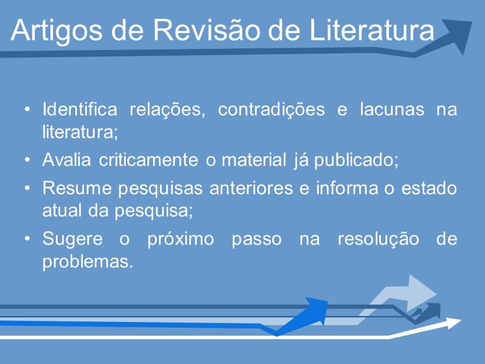 Artigos de Revisão de Literatura Identifica relações, contradições e lacunas na literatura; Avalia criticamente o material já publicado; Resume pesqui