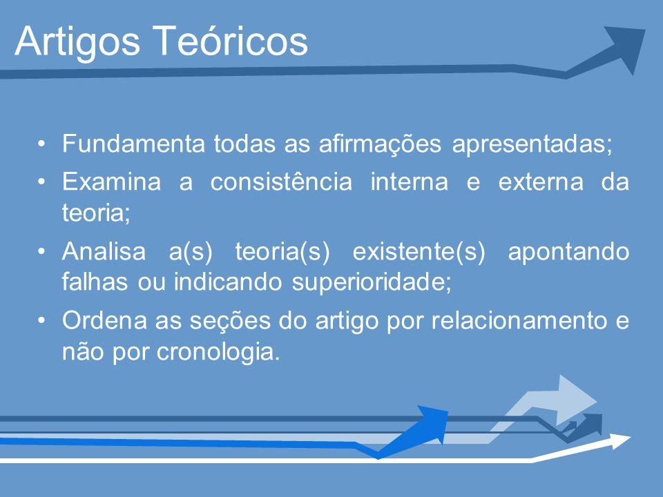 Artigos Teóricos Fundamenta todas as afirmações apresentadas; Examina a consistência interna e externa da teoria; Analisa a(s) teoria(s) existente(s)