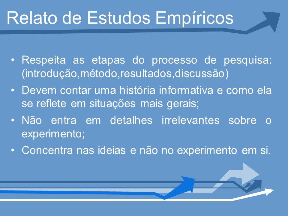 Relato de Estudos Empíricos Respeita as etapas do processo de pesquisa: (introdução,método,resultados,discussão) Devem contar uma história informativa