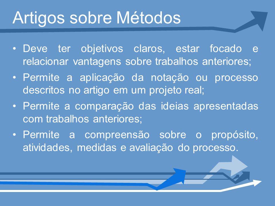 Artigos sobre Métodos Deve ter objetivos claros, estar focado e relacionar vantagens sobre trabalhos anteriores; Permite a aplicação da notação ou pro